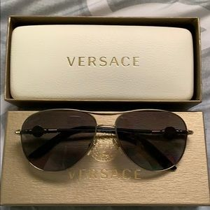 Versace Aviator sunglasses with case and box.